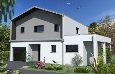 Construction Maison 3 bi-pente zinc avec débord de toit