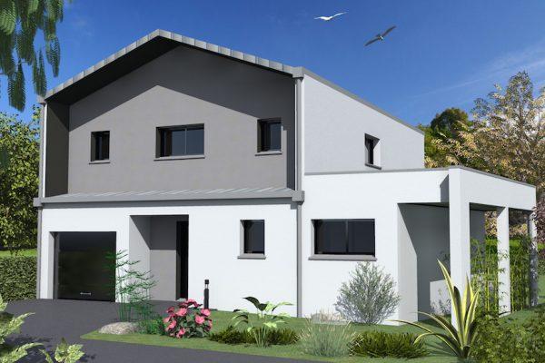 Maison toit zinc latest maison bois et toiture monopente for Maison moderne zinc