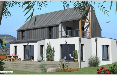 Construction Maison 6 bi-pente zinc, bardage zinc